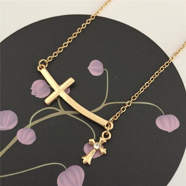 Double Linked 2 Sideways Cross Pendant Necklace - InnovatoDesign
