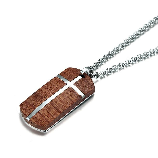 Rosewood & Silver Dog Tag Wooden Cross Pendant Necklace - InnovatoDesign