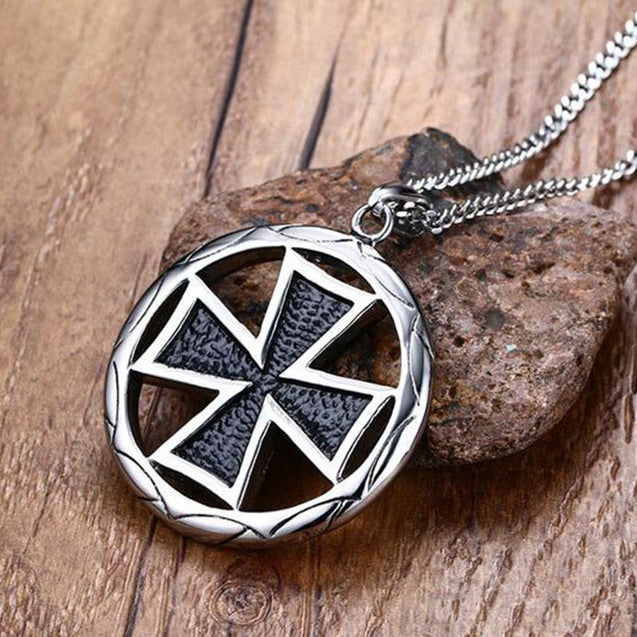 Stainless Steel Maltese Cross Pendant Necklace with Circular Border - InnovatoDesign