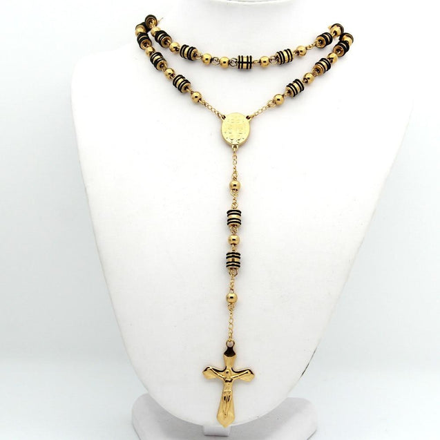 Metallic Gold Rosary with Chain-Linked Beads - InnovatoDesign