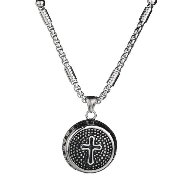Circular Stainless Steel Pendant with Dotted Cross Design - InnovatoDesign