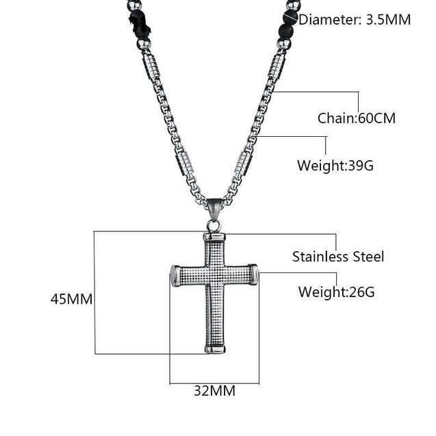 Ridged Stainless Steel Cross Pendant with Black Beaded Necklace - InnovatoDesign