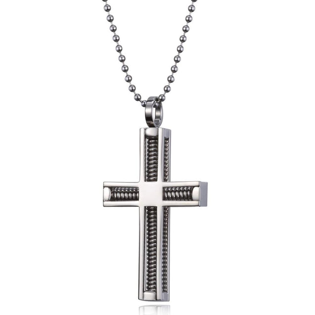 Stainless Steel Wire Spring Cross Pendant and Ball Chain Necklace - InnovatoDesign