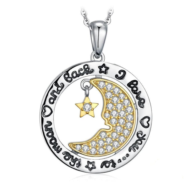 Two-Tone Gold and Silver Engraved Moon and Star Pendant Necklace - InnovatoDesign