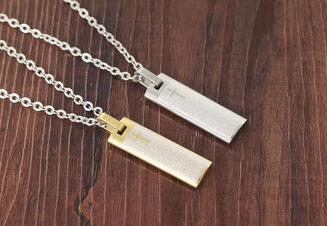 Titanium Steel Plate Pendant with Cross and Spanish Prayer Necklace - InnovatoDesign