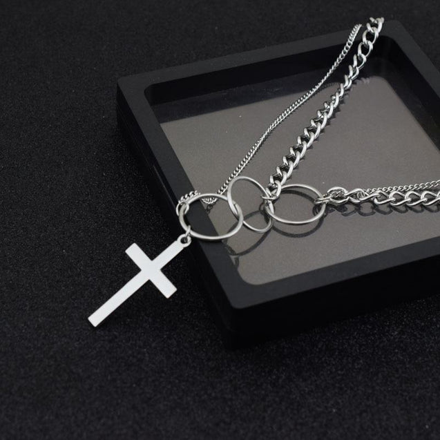 Silver Triple Ring Cross Pendant Dual Chain Necklace - InnovatoDesign