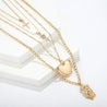 Multi-layer Gold Chain Necklace with Cross, Rose, Heart, and Jesus Pendant - InnovatoDesign