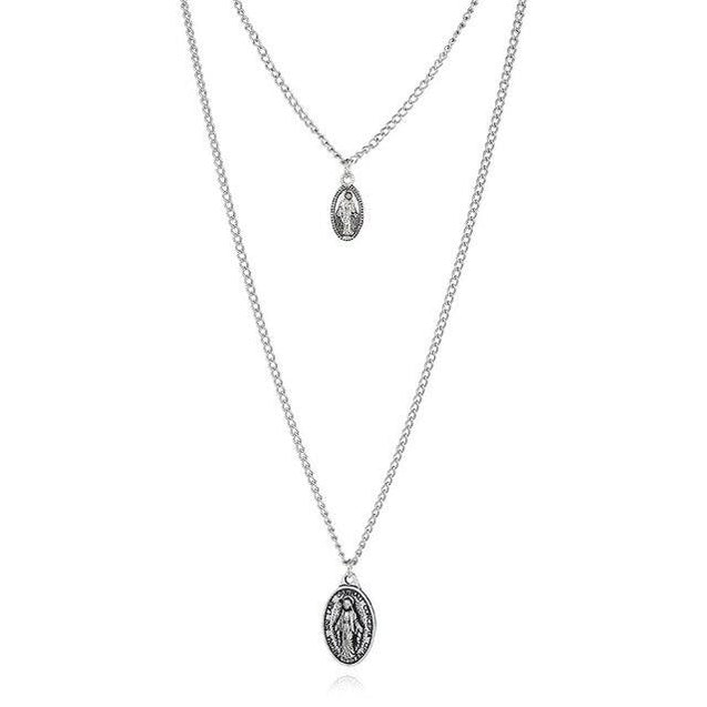 Cross and Mary Pendant on 2-Layer Chain Link Necklace - InnovatoDesign