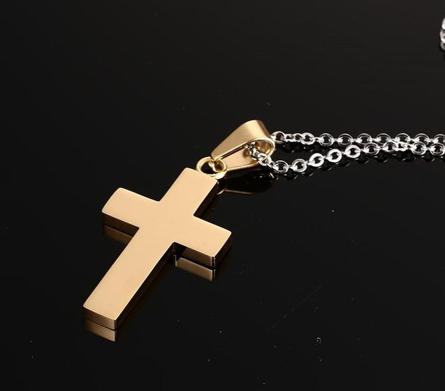 Golden Cross Pendant Necklace with Black Carbon Fiber Inlay Material - InnovatoDesign