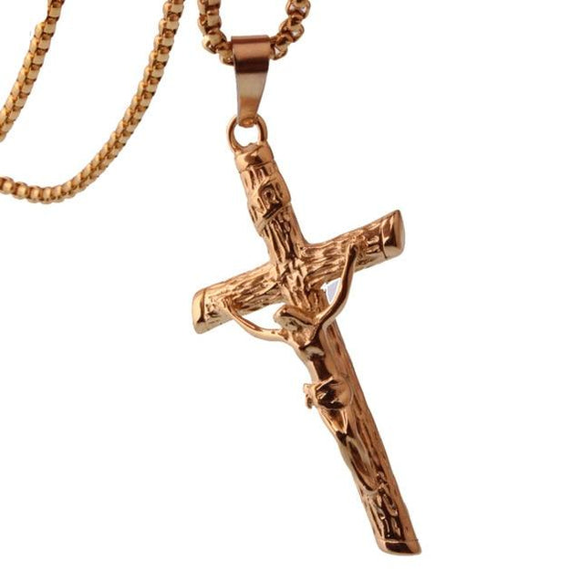 Metallic Jesus Christ Crucifixion Pendant with Link Chain Necklace - InnovatoDesign