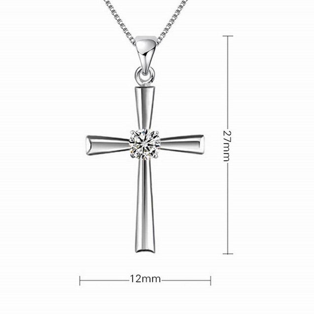 Smooth Silver Catholic Cross Pendant with Cubic Zirconia Crystal - InnovatoDesign
