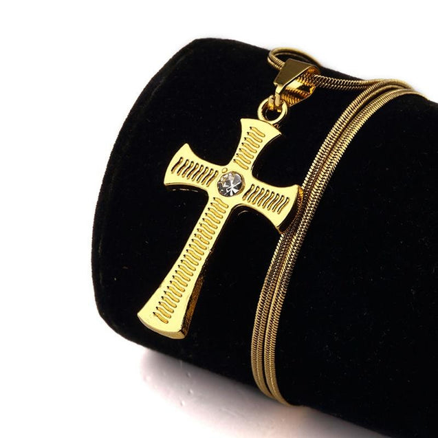 Gold Plated Rhinestone Catholic Cross Pendant Necklace - InnovatoDesign