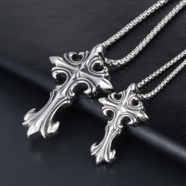 Titanium Silver Cross Pendant with Figaro Chain Necklace - InnovatoDesign