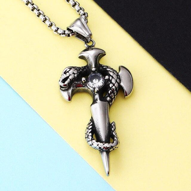 Stainless Steel Necklace and Sword Cross Pendant with Coiled Snake - InnovatoDesign