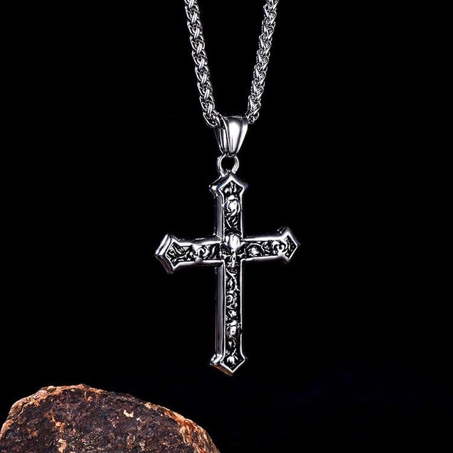 Stainless Steel Skull and Rose Cross Pendant Chain Necklace - InnovatoDesign