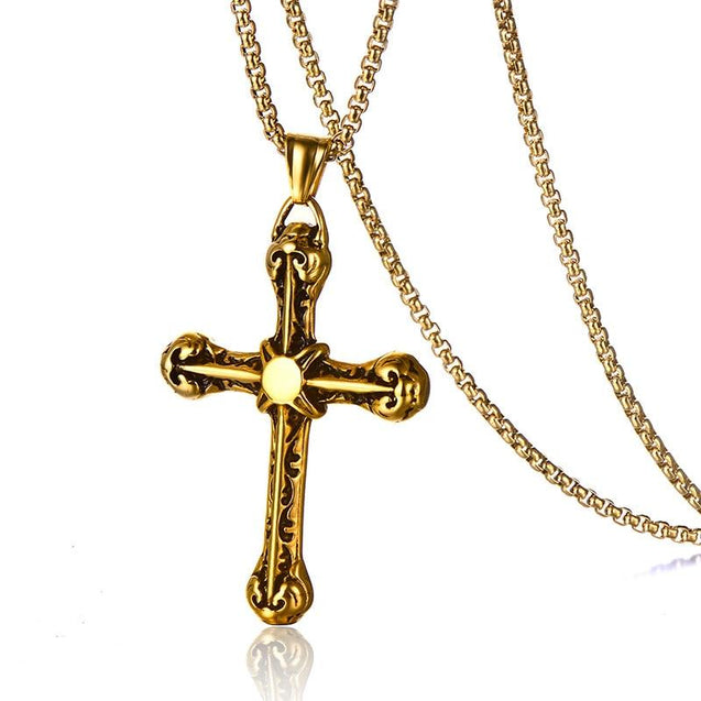 Gothic Silver or Gold Stainless Steel Cross Pendant and Chain Necklace - InnovatoDesign