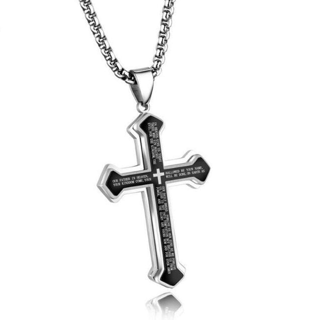 Lord's Prayer Silver Cross Pendant with Black Inlay Necklace - InnovatoDesign