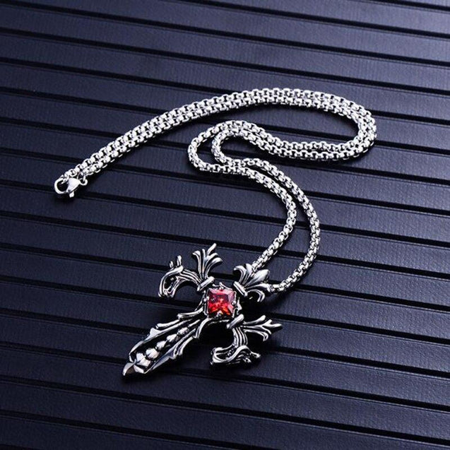 Titanium Steel Crystal Cross Pendant and Chain Necklace - InnovatoDesign