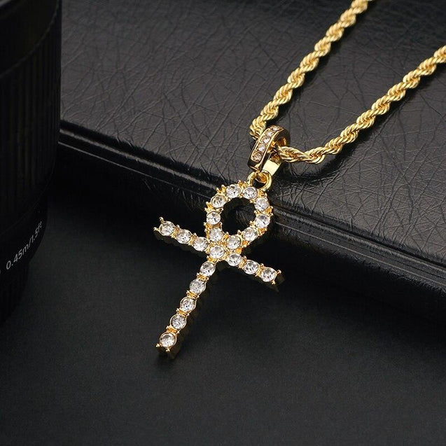 Thin Metallic Ankh Cross Pendant with Iced Rhinestones Necklace - InnovatoDesign