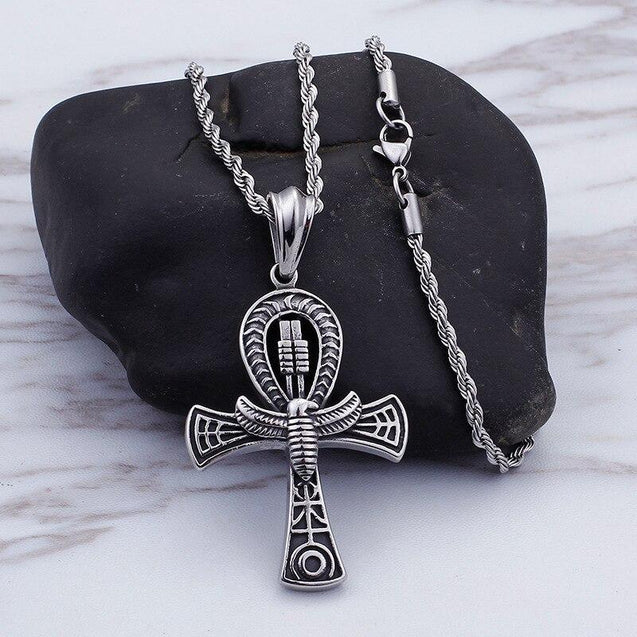 Silver Scarab Charm Ankh Pendant and Chain Necklace - InnovatoDesign