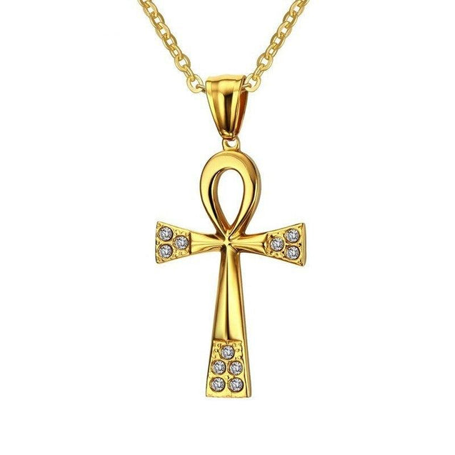 Gold-plated Stainless Steel Ankh Cross Pendant Chain Necklace - InnovatoDesign