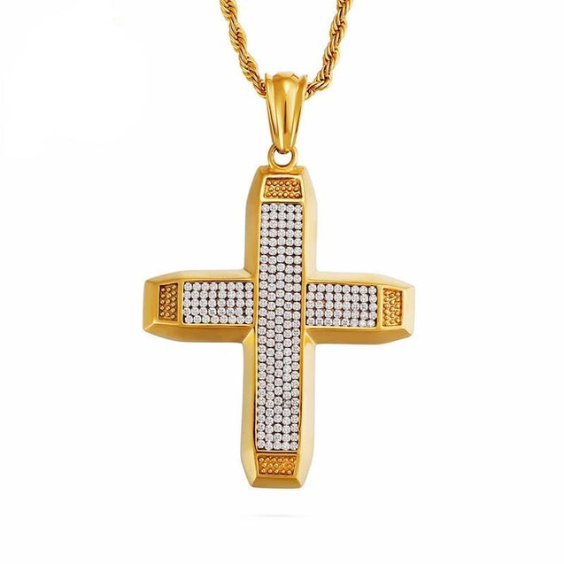 Thick Gold-plated Ethiopian Cross with Cubic Zirconia Pendant Necklace - InnovatoDesign