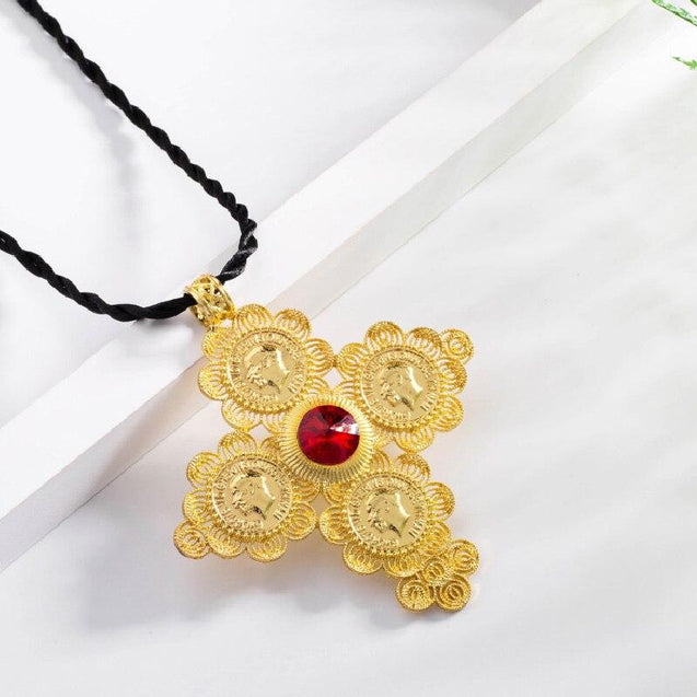 Golden Ethiopian Cross Coin Pendant with Large Crystal Center and Rope Necklace - InnovatoDesign
