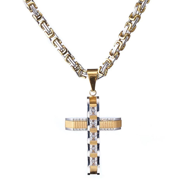 Two-tone Gold and Silver Crucifix Pendant and Byzantine Chain Necklace - InnovatoDesign