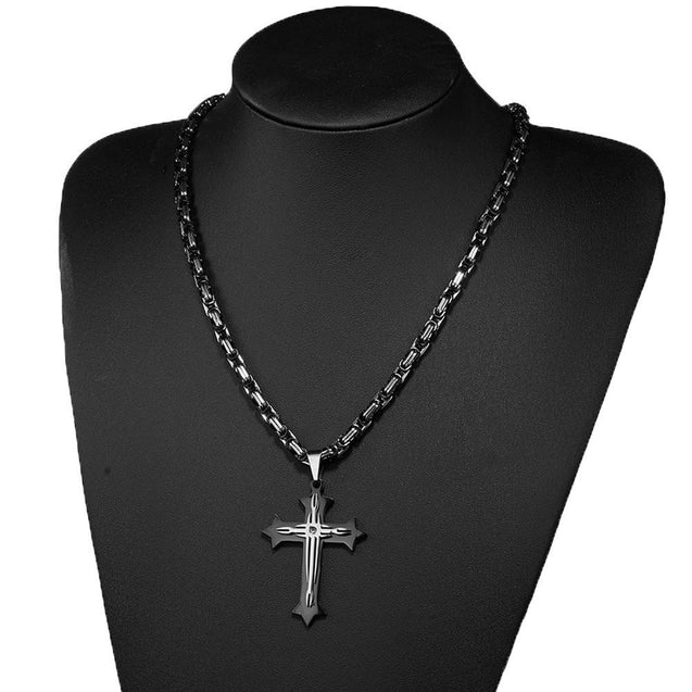Black 2 Layer Cross Pendant with Byzantine Chain Necklace - InnovatoDesign