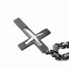 Black Cross Pendant with Silver Curved Cross Inlay and Lord's Prayer Engraving - InnovatoDesign