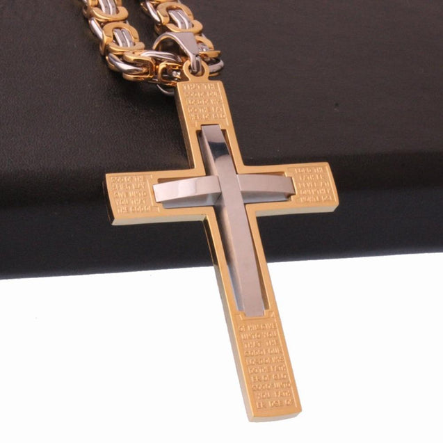 Overlapping Gold and Silver Cross Pendant Necklace with Byzantine Chain - InnovatoDesign
