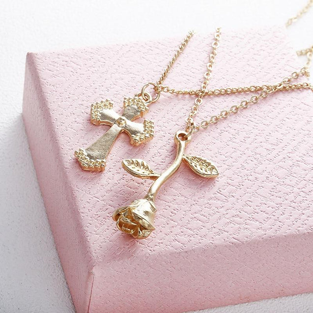 Multi-layer Gold Chain Necklace with Floral Cross and Inverted Rose Pendant Necklace - InnovatoDesign