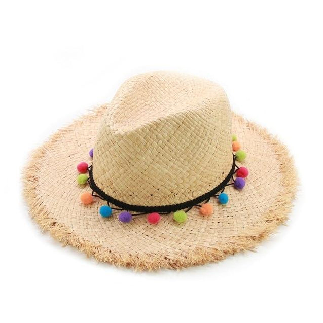 Raffia Panama Hat with Colorful Pompom Tassel Belt