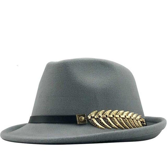 Wool Felt Trilby Fedora Hat with a Laurel Crown Belt Hatband
