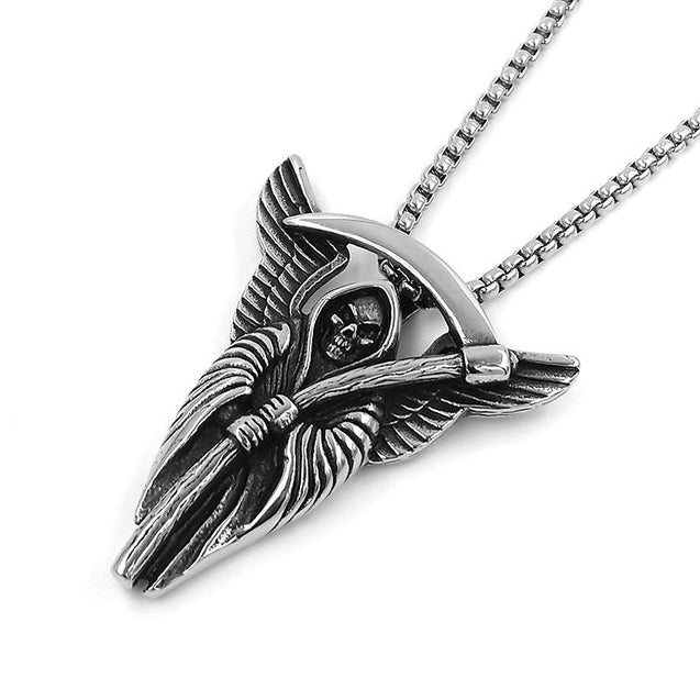 Stainless Steel Winged Grim Reaper with Scythe Pendant Necklace