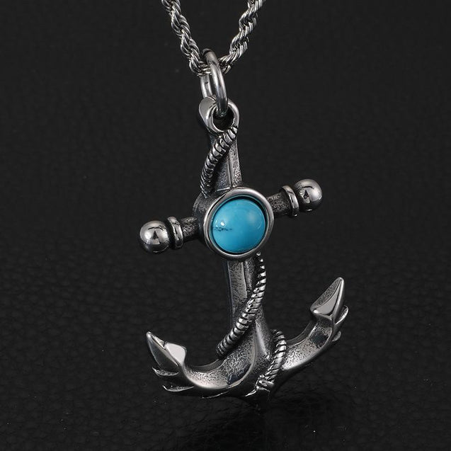 Silver Chain Necklace and Anchor Pendant with Stone Center Necklace - InnovatoDesign