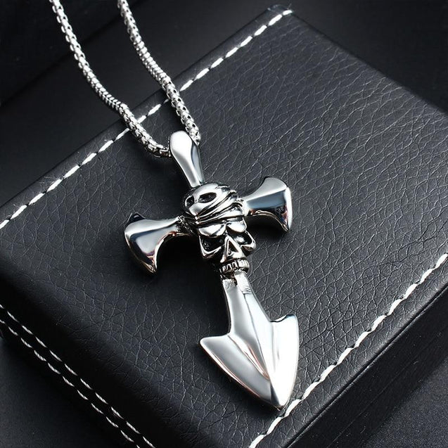 Stainless Steel Silver Pirate Skull Cross Blade Pendant Necklace - InnovatoDesign