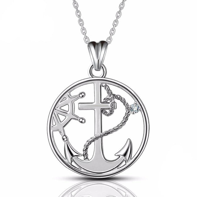 925 Sterling Silver Round Anchor and Rudder Pendant Necklace - InnovatoDesign