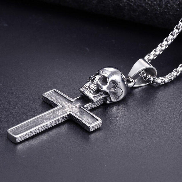 Stainless Steel Skull Cross Pendant with Enamel Inlay Necklace - InnovatoDesign