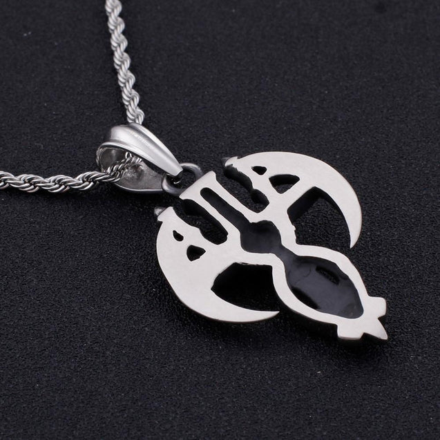 Steel Skull and Scythe Cross Pendant with Chain Necklace - InnovatoDesign