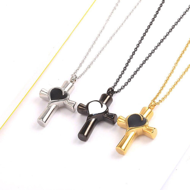 Urn Cross with Heart Inlay Pendant and Chain Necklace - InnovatoDesign