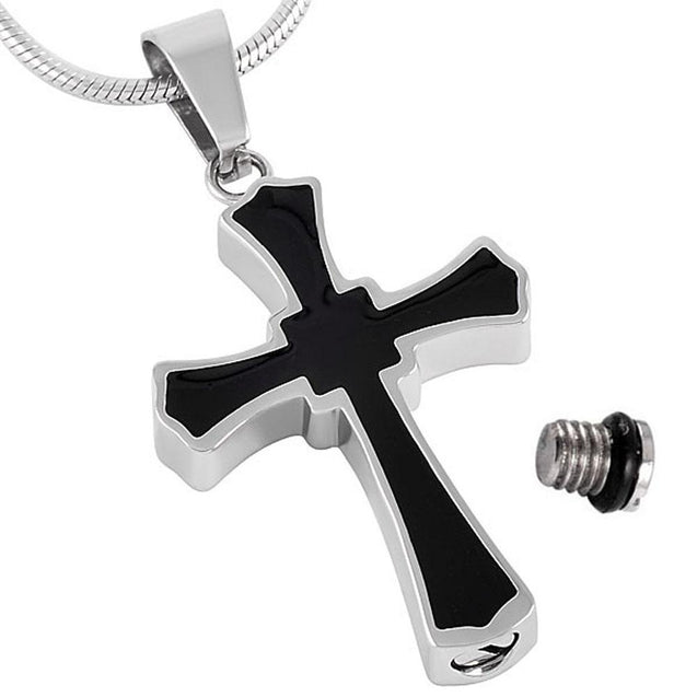 Steel Cross with Black Inlay Mini-Urn Pendant Necklace - InnovatoDesign
