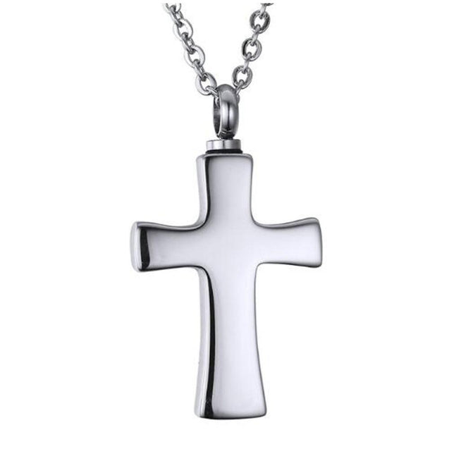 Polished Metallic Cross Mini-Urn Pendant with Chain Necklace - InnovatoDesign