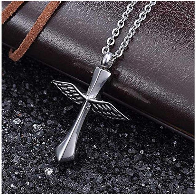 Silver Winged Cross Urn Pendant Necklace - InnovatoDesign