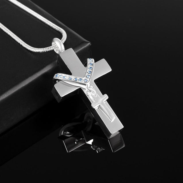 Silver Cross Pendant with Mini Cross Crystal Charm Memorial Pendant Necklace - InnovatoDesign