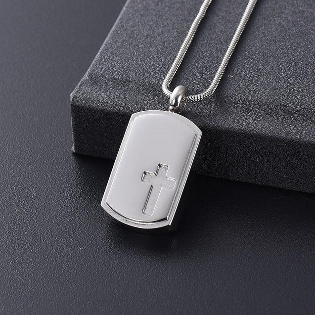 Dog Tag Urn with Engraved Cross Pendant Necklace - InnovatoDesign