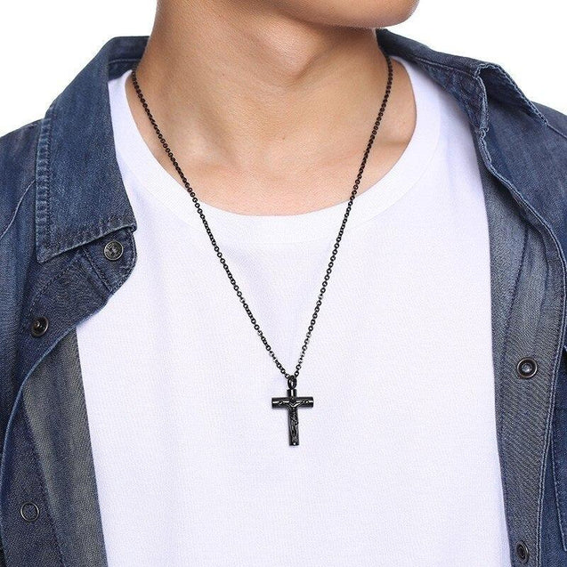 Black Jesus Christ Urn Pendant with Round Chain Necklace - InnovatoDesign