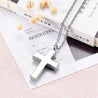 Silver Floral Engraving on Cross Memorial Pendant Necklace - InnovatoDesign