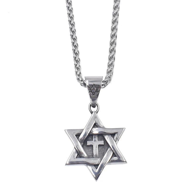 Messianic Star of David with Cross Pendant Necklace - InnovatoDesign