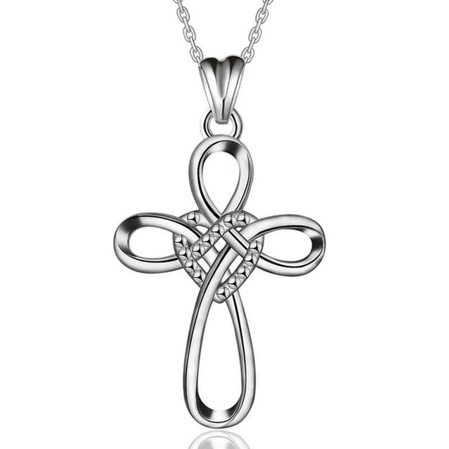 925 Sterling Silver Knot Heart and Cross Pendant with Dotted Accent Necklace - InnovatoDesign